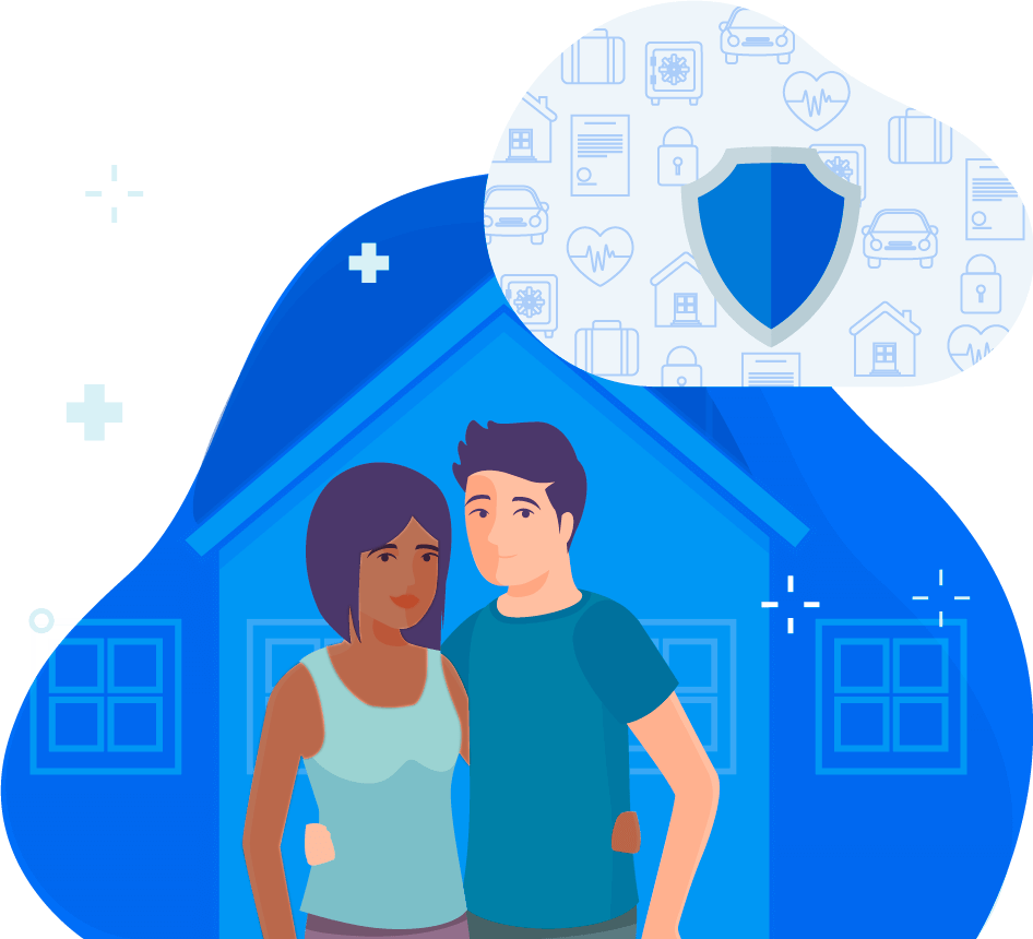 Couple in front of house insurance