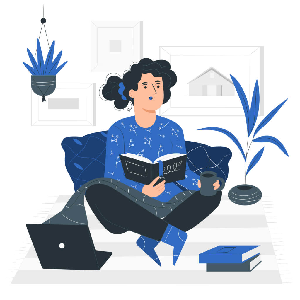 Vector woman on bed reading